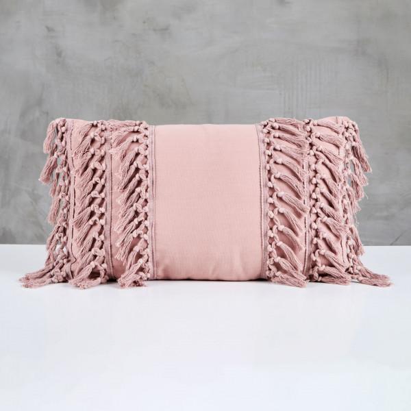 Dekokissen Lilliola Fransen Kissen Boho Style Farbe Nude Rose aus 100% Baumwolle Tiefe 30 cm Breite 50 cm Leicht zu reinigen