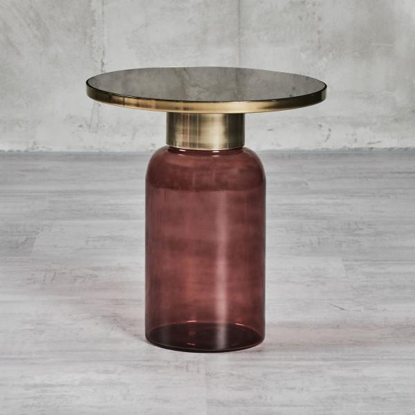 Couchtisch Ilkella Beistelltisch Höhe 46 cm Durchmesser 41 cm Material Tischplatte galvanisierter Eisenaufsatz in Gold und gefärbtes braunes Spiegelglas Material Fuß gefärbtes Glas in braun