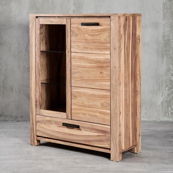 Highboard Jenko II mit modernen, geradlinigen Formen und edlem Sheesham-Furnier, eine Schublade, eine Glastür mit zwei Glaseinlegeböden, eine Tür mit zwei Einlegeböden