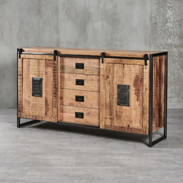 Sideboard Thorkas aus Mangoholz - Industrial-Style mit Schiebetüren und Eisenrahmen 2 Schiebetüren, dahinter 2 Fächer mit je einem Einlegeboden und 4 Schubladen
