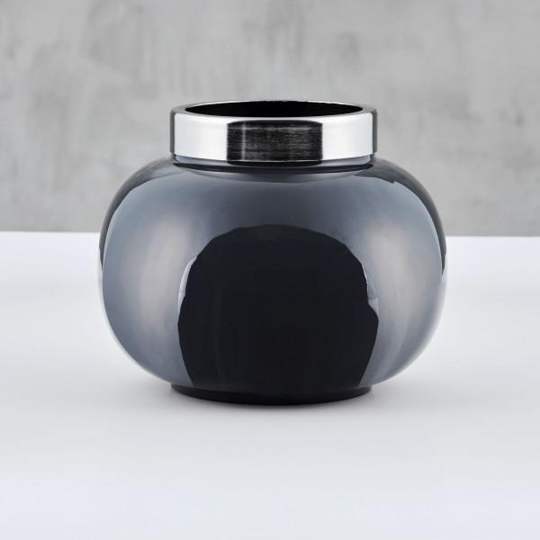 Vase Lilora aus emailliertem Eisen in Night Grey und silberplattiertem Rand Größe Durchmesser 21 cm Höhe 17 cm