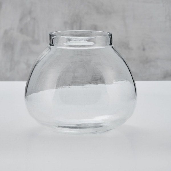 Vase Utilla Design Blumenvase aus Glas mit Flaschenhals Durchmesser 21,5 cm Höhe 18,5 cm