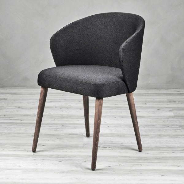 Armlehnen Polsterstuhl Bacerta 2  Sessel Farbe Night Grey grau Stuhl Beine in natur