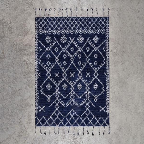 Teppich Nodda im Boho-Stil handgetufteter dunkelblauer Wollteppich mit Rautenmuster Breite 160 cm Tiefe 230 cm
