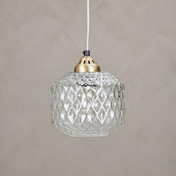 HÄNGELEUCHTE Gloriala mit zylindrischem Lampenschirm aus strukturiertem klarem Glas und einer Hängelampen Aufhängung aus Messing Durchmesser 19 cm Höhe 20 cm