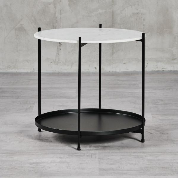 Beistelltisch Liamalia Couchtisch Tischlatte aus Weißem Marmor Schwarz pulverbeschichtetem Eisengestell mit vier Beinen und zweiter Ablagefläche Durchmesser 53 cm Höhe 50 cm