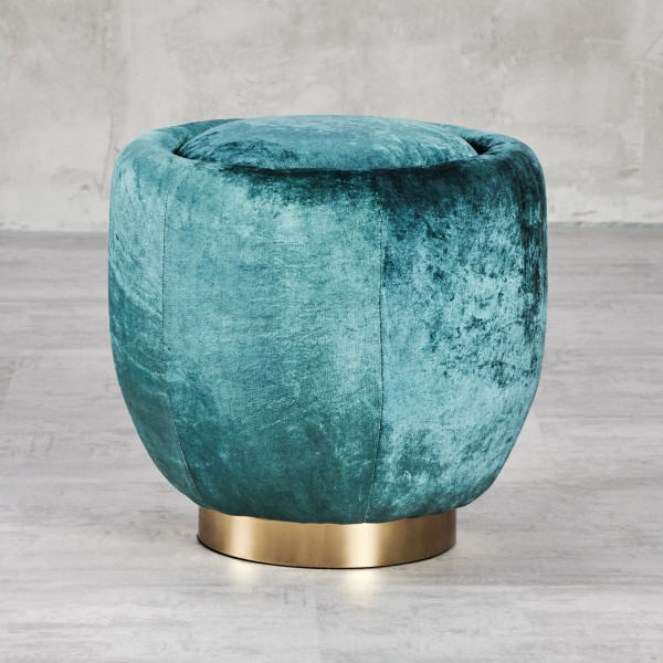 Pouf Fibala Sitzhocker mit Samt-Bezug in Pacific Blue Metallfuß aus goldfarben galvanisiertem Eisen Durchmesser 43 cm Höhe 44 cm