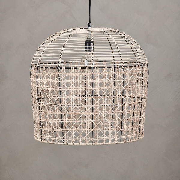 Rattan Korblampe Palishka Hängelampe mit pulverbeschichtetem Eisenrahmen Lampenschirm Durchmesser 50 cm