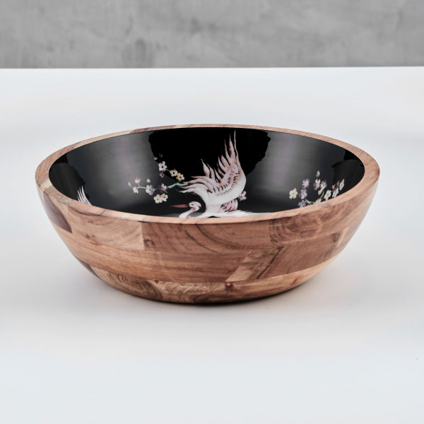Schale Talabea innen bedruckt mit Kranichmotiv Material Mangoholz Schüssel Durchmesser 29 cm Höhe 8 cm