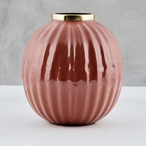 Art-Deco Vase Isiana aus Eisen mit goldfarben galvanisiertem Hals und emailliertem Korpus in Terra Sunburn Durchmesser 26 cm Höhe 27,5 cm
