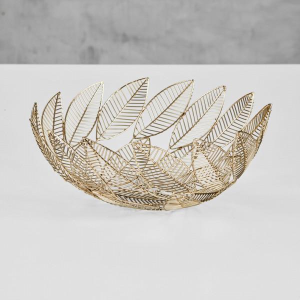 Schüssel Hebiona runde Schale in Blatt Optik aus goldfarben galvanisierter Eisen Struktur Durchmesser 33 cm Höhe 13,5 cm