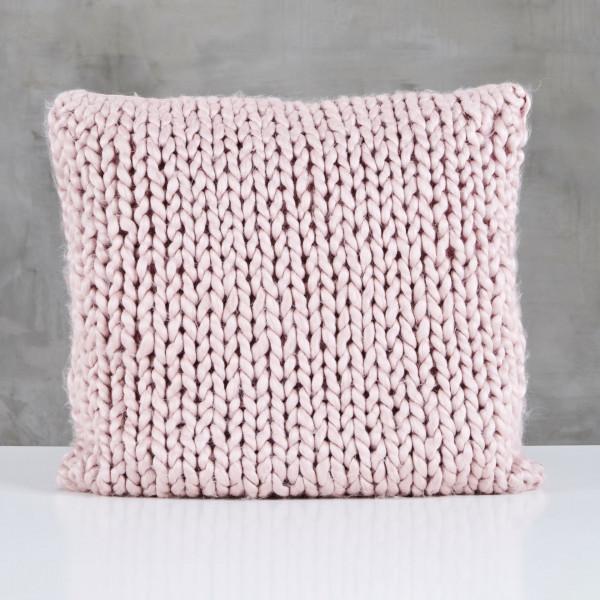 Kissen Pelma Wolle handgestrickt Couchkissen Farbe Mahagony Rose Länge 45 cm Breite 45 cm