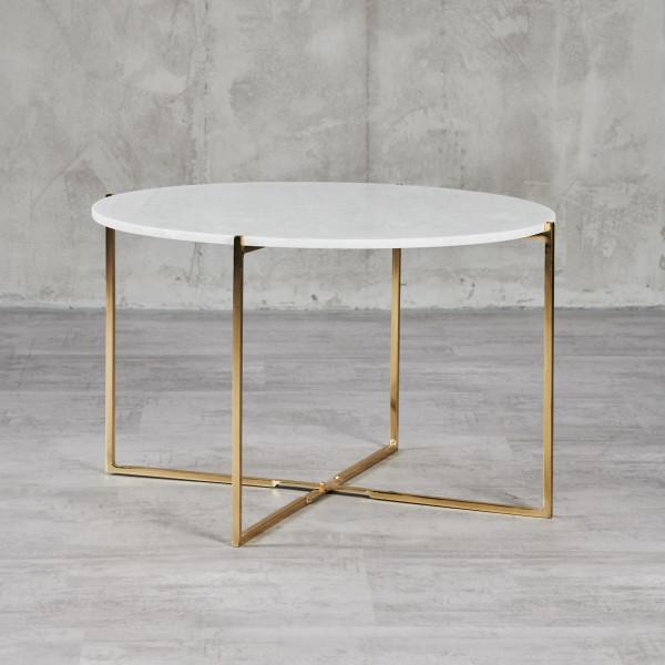 Maromy Couchtisch Beistelltisch kreisrunde Tischplatte aus weißem Marmor Maße Durchmesser 70 cm Höhe 45 cm goldfarben galvanisiertes Eisengestell