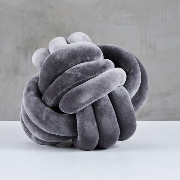 Sofakissen Ilmella Bezug aus Samt Baumwolle Kissen Farbe Night Grey Kantenlänge 30 cm