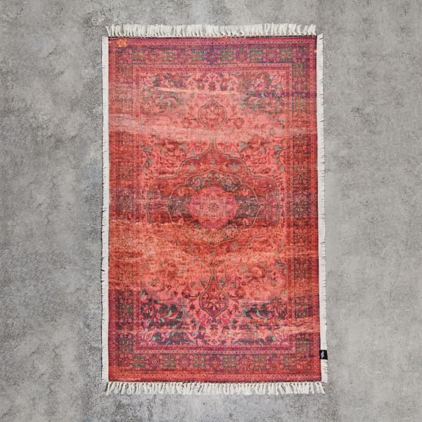 Webteppich Samebe Teppich im Used Look aus 100 % Chenille Baumwolle Breite 140 cm Länge 240 cm handgewebt und bedruckt im Stil eines Perserteppichs