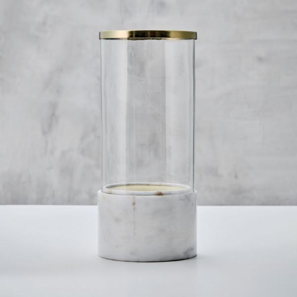 Windlicht Laniala Laterne mit weißem Marmor Fuß Glasröhre und goldfarben galvanisiert Eisenring Durchmesser 15 cm Höhe 36 cm