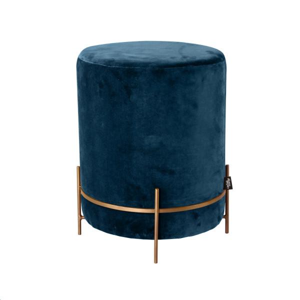 Pouf Design-Hocker Glaralia in Pacific Blue Blau mit Samt-Bezug aus 100% Baumwolle Eisengestell goldfarben pulverbeschichtet