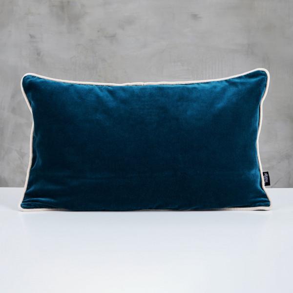 Kuschelkissen Daskia in Pacific Blue Polster Kissen mit Vorstoß in Ivory Elfenbein und Samt Bezug aus 100 % Baumwolle Länge 60 cm Höhe 35 cm