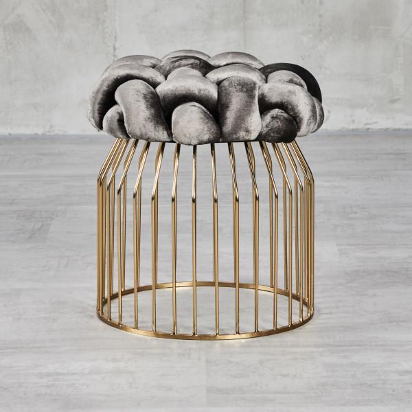 Sitzhocker Pouf Herlana im Goldener Käfig Design mit Samt-Bezug Farbe Night Grey Eisengestell galvanisiert Durchmesser 45 cm Höhe 47,5 cm