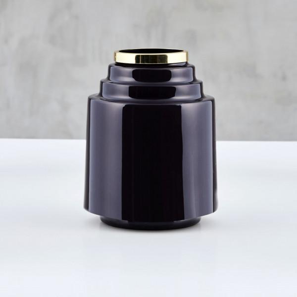 Vase Malwilm im Art-Déco Stil aus emailliertem Eisen in Purple Fig mit goldfarben galvanisiertem Hals Maße Durchmesser 16 cm Höhe 18 cm
