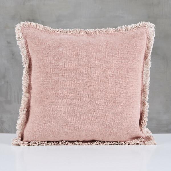 Couchkissen Filjana in Nude Rose Kissen Polster im nordischen Design Bezug aus 100 % Cotton mit Fransen Länge 45 cm Breite 45 cm