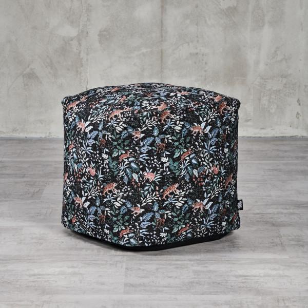 Sitzwürfel Pouf Gonsha mit Kantenlänge 45 cm Hocker mit buntem Dschungel Blumen Tiere Pflanzen Druckmuster