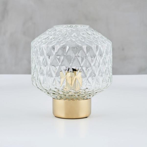 TISCHLEUCHTE Gathede mit Lampenschirm aus klarem zylindrischen Strukturglas und Tischlampe-Fuß aus Messing Durchmesser 18 cm Höhe 23 cm