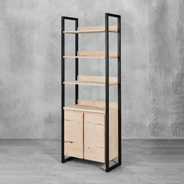 Regal Jondrik im Industrial Style - mit Eisenrahmen und edlem Eichenholzfurnier 2 Türen mit Push-to-Open-Funktion Türanschlag links und rechts 3 Ablageflächen