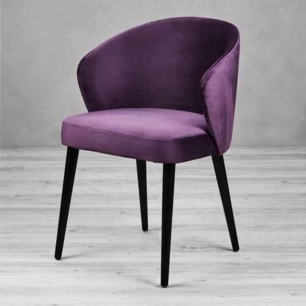 Polsterstuhl Bacerta Velvet II Farbe Purple Fig Lila Violett Samtbezug Stuhl mit Armlehnen  Sessel Stuhlbeine in schwarz