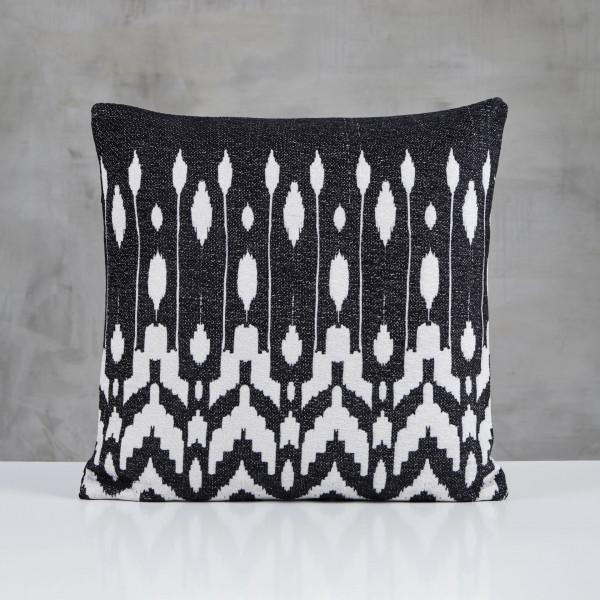 Zierkissen Serilla Kissen mit Schwarz Weiß Ethno Muster bedruckt Dekokissen Kantenlänge 45 cm