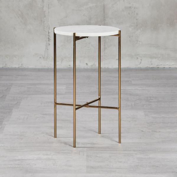 Odianne Pflanzenständer mit weißer Marmor-Tischplatte Durchmesser 29,5 cm Höhe 50 cm goldfarben galvanisierter Eisenrahmen vier Beine