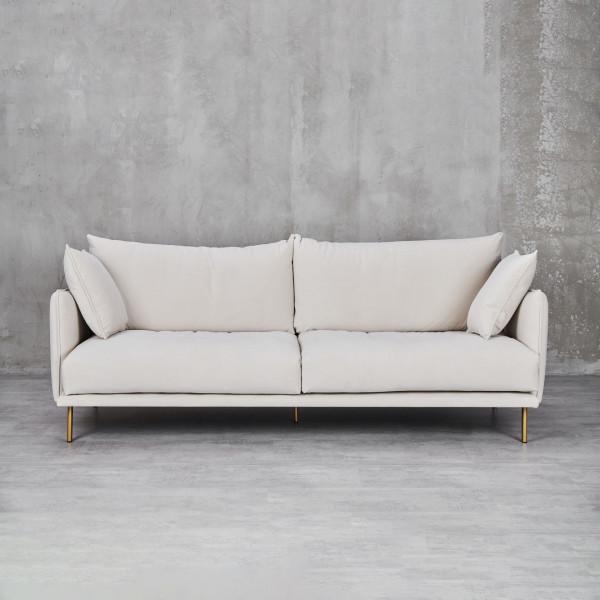 Couch Svarinna für 3,5 Personen mit 2 Dekokissen Schaumstoff Polsterung und Wellenunterfederung Sofa mit lackierten Stahl-Beinen Material Bezug und Kissen 100 % Polyester