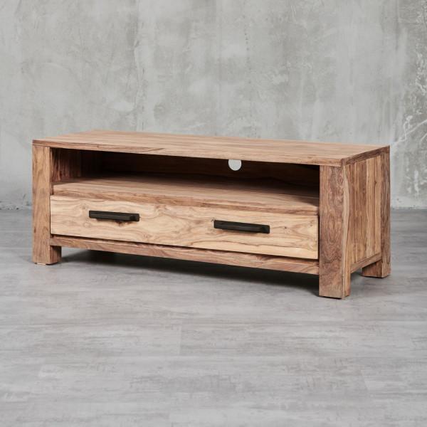 Abbildung TV Lowboard Jenko mit modernen, geradlinigen Formen und natürlichem Sheesham-Furnier
